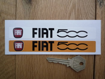"Fiat 500 Number Plate Dealer Logo Cover Stickers. 5.5"" Pair."