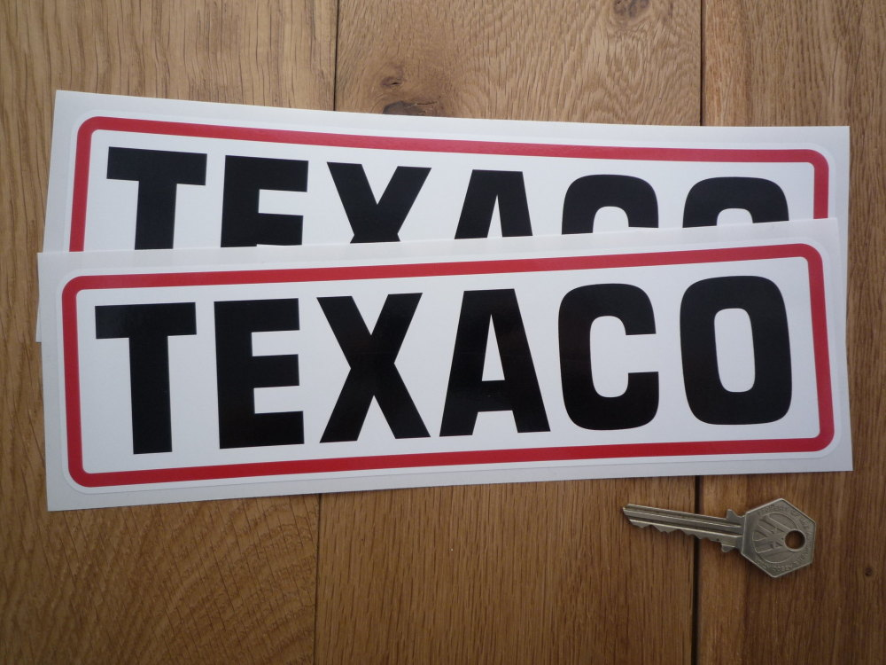 "Texaco Black, Red, & White Oblong Text Stickers. 10.25"" Pair."