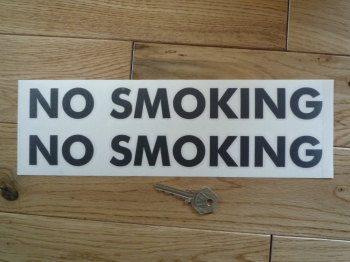 "No Smoking Upper-case Cut Vinyl Stickers. 11.5"" Pair."