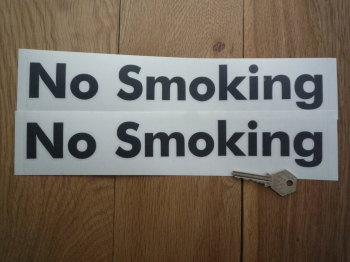 "No Smoking Lower-case Cut Vinyl Stickers. 11.5"" Pair."
