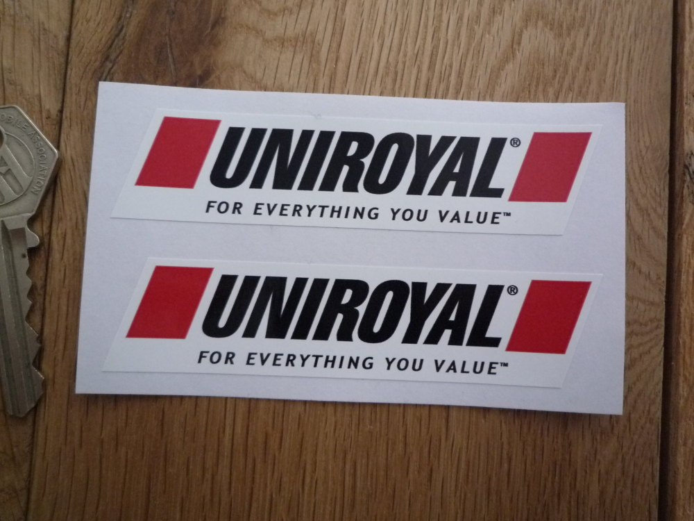 """Uniroyal For Everything You Value Slanted Oblong Stickers. 4"""" Pair."""