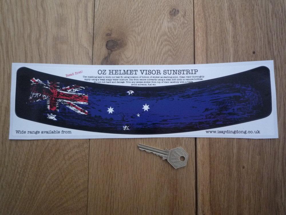 "Australia Flag Worn & Distressed Style Helmet Visor Curved Sunstrip Sticker. 12""."