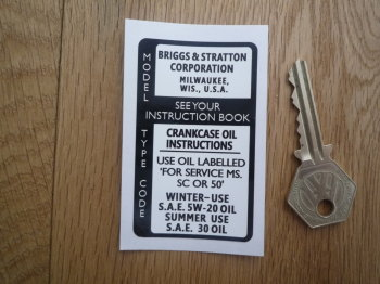 "Briggs And Stratton Crankcase Oil Instructions Sticker. 3""."