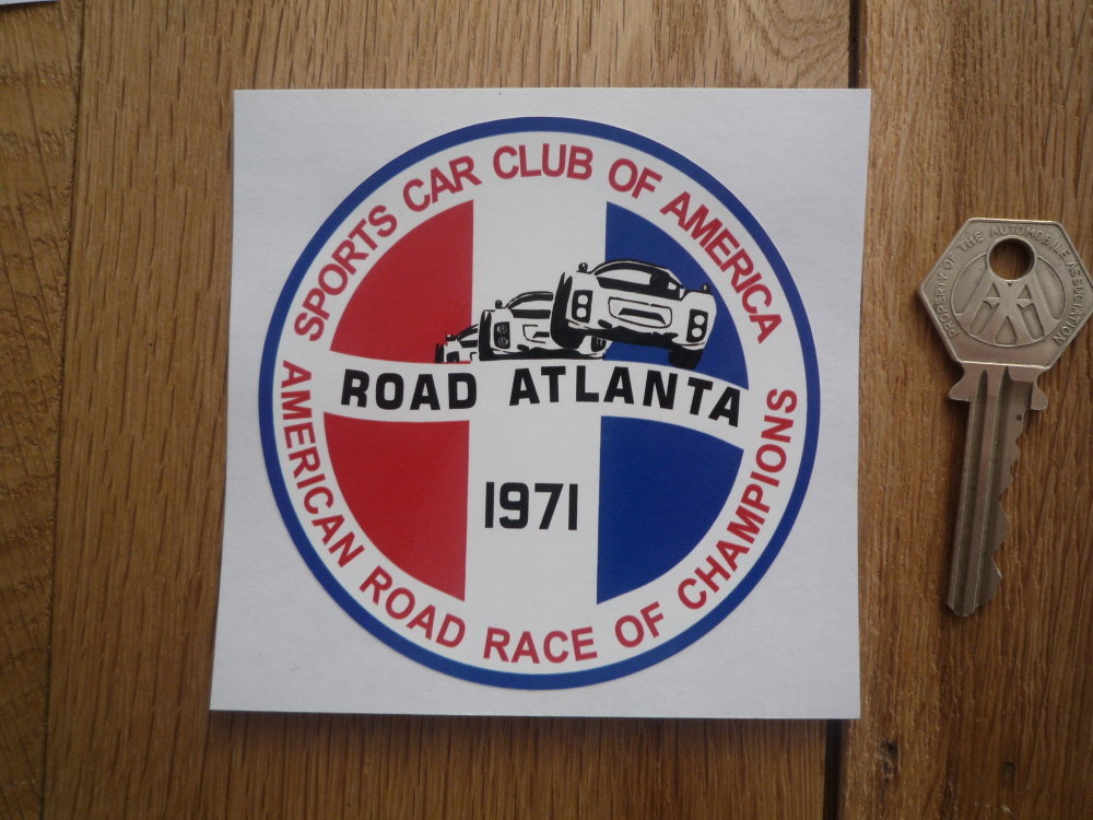 """Sports Car Club SCCA American Road Race of Champions Atlanta Sticker. Various Years. 3.5""""."""