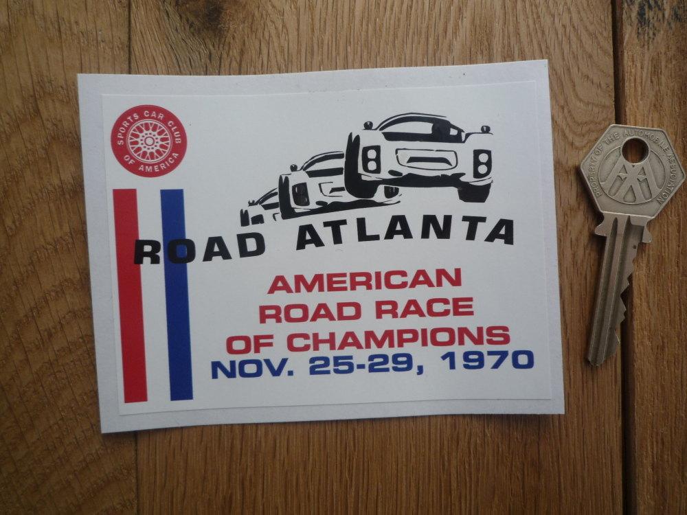 "Sports Car Club SCCA American Road Race of Champions Atlanta Sticker. 1970. 4.5""."