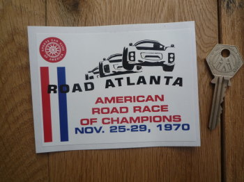"Sports Car Club SCCA American Road Race of Champions Atlanta Sticker. 1970. 4.5""."