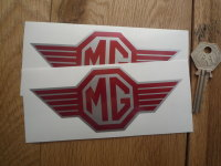 """MG Straked Logo Red & Silver Stickers. 5.25"""" Pair."""