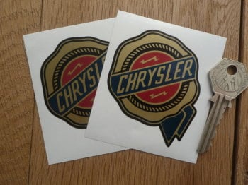 "Chrysler Gold Rosette Shaped Logo Stickers. 2.5"" Pair."