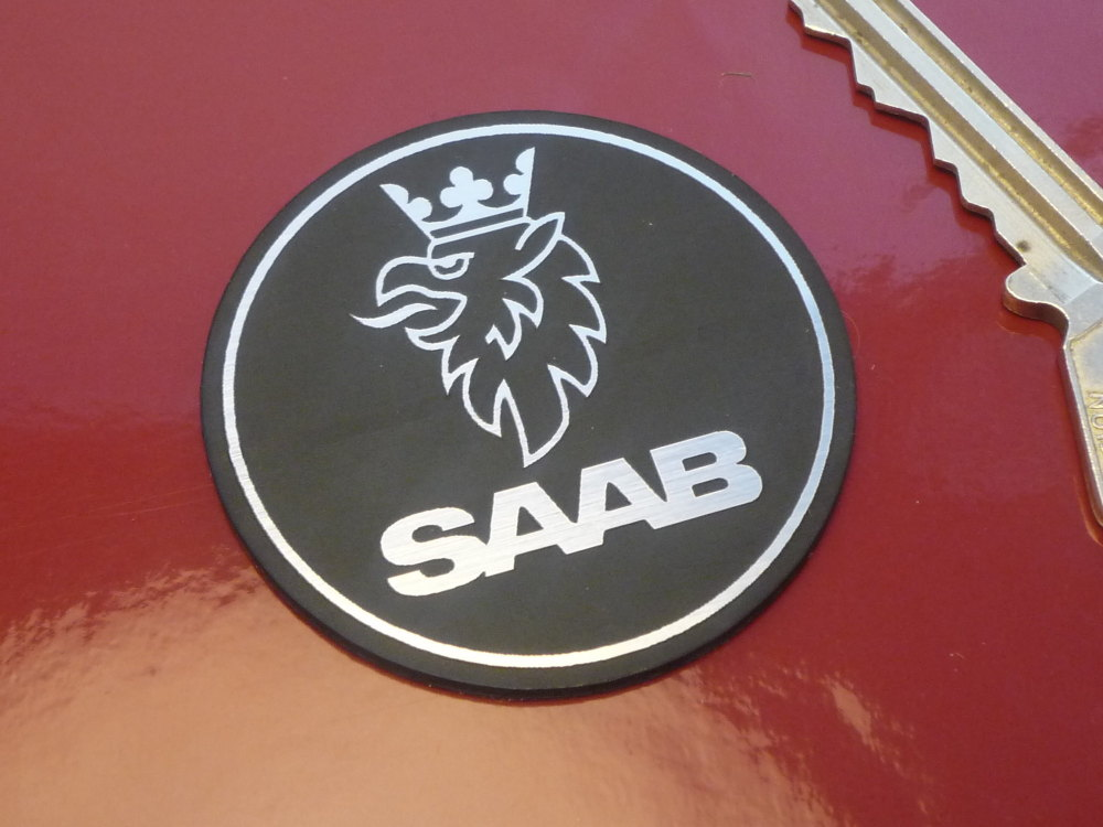 Saab Round Laser Cut Self Adhesive Badge. 46mm.
