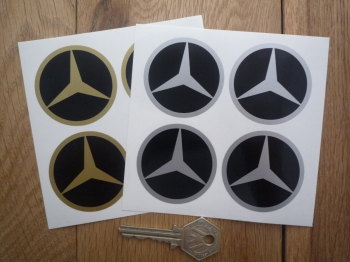 Mercedes Benz Simple Style Wheel Centre Stickers. Set of 4. 50mm or 60mm.