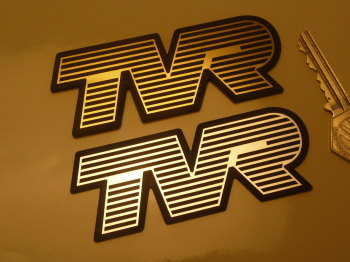 "TVR Laser Cut Self Adhesive Car Badges. 4"" Pair."