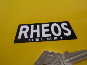 "Rheos Helmet Parallelogram Black & White Stickers. 2"" Pair."