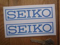 "Seiko Blue on White Coach-line Oblong Stickers. 5"" Pair."