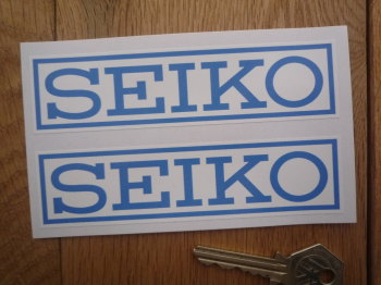 "Seiko Blue on White Coach-line Oblong Stickers. 5"" Pair."