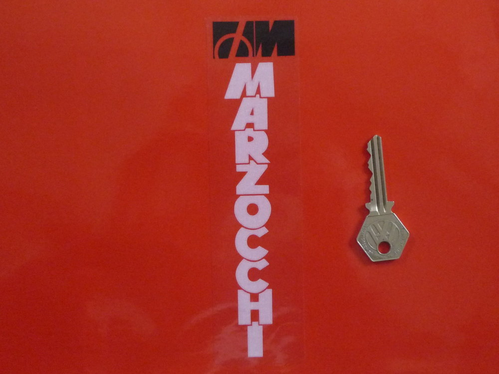 """Marzocchi White & Black on Clear Fork Slider Stickers. 7"""" Pair."""