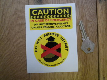 Caution Do Not Remove Helmet Motorbike Stickers. Set of 2.