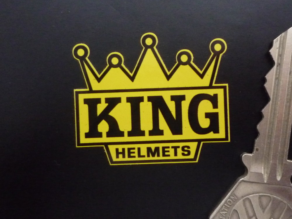 "KING Helmets Black & Yellow Crown Shaped Motorcycle Stickers. 2"" Pair. Barry Sheene."