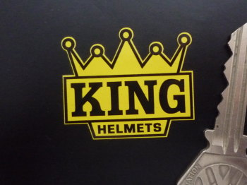 """KING Helmets Black & Yellow Crown Shaped Motorcycle Stickers. 2"""" Pair. Barry Sheene."""