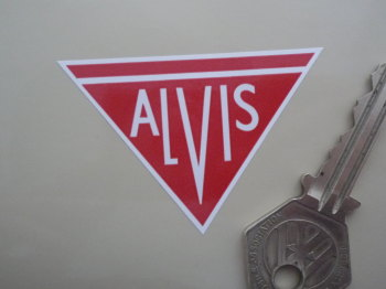 "Alvis Red & White Logo Sticker. 2.25""."