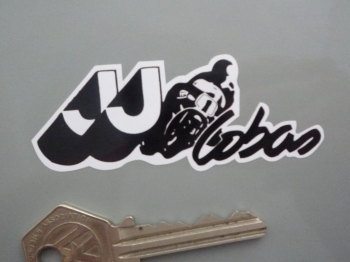 "JJ Cobas Motorcycles Black & White Logo Sticker. 3""."