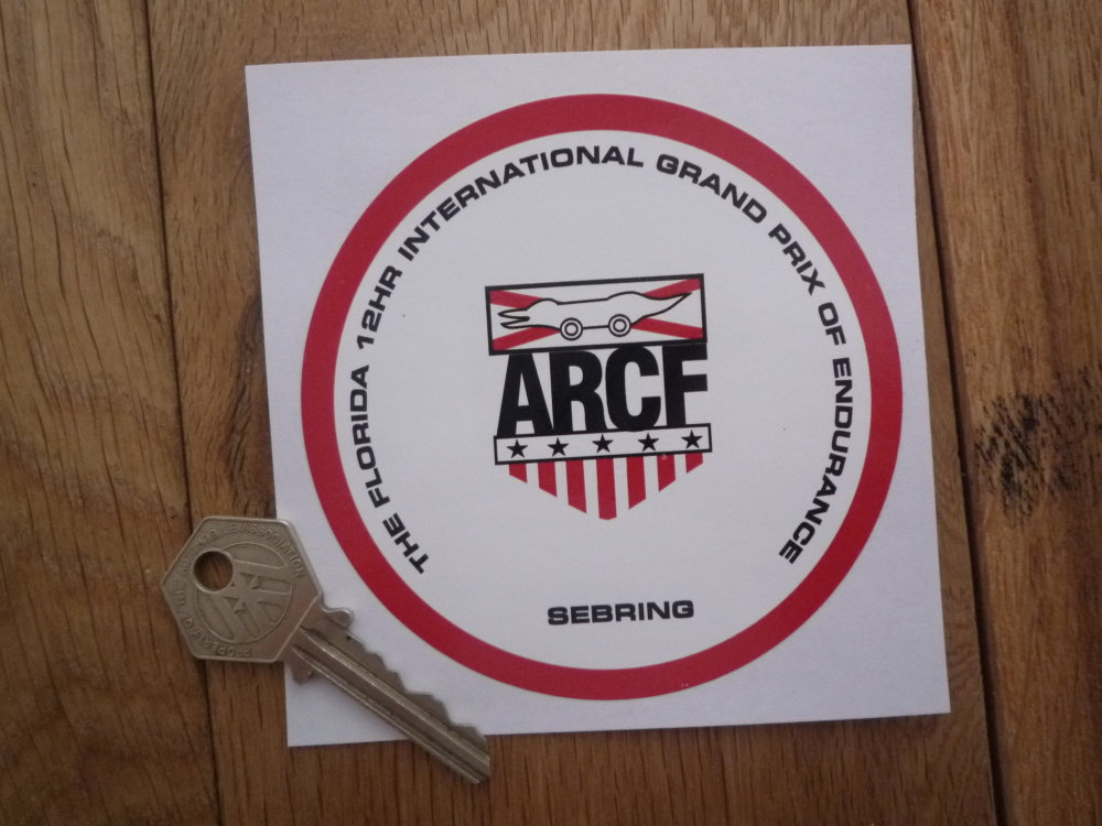 "Sebring Florida 12hr International Grand Prix of Endurance ARCF Sticker. 4""."
