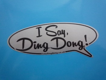 "I Say Ding Dong Speech Bubble Stickers. Black & Silver. 4"", 4.5"", 6"" or 8"" Pair."
