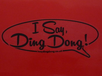 "I Say Ding Dong Speech Bubble Stickers. Black & Clear. 3"". Set of 4."