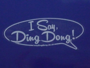 "I Say Ding Dong Speech Bubble Stickers. White & Clear. 4.5"" Pair."