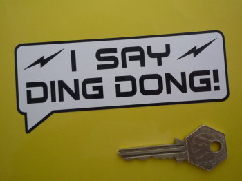 "I Say Ding Dong Speech Bubble Stickers. Electro Style. 5"" Pair."