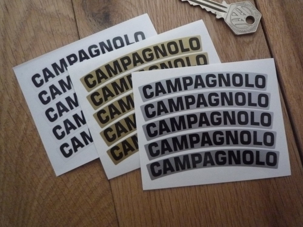 "Campagnolo Curved Wheel Stickers. Thick Style. 3.5"" or 4.5"". Set of 5."