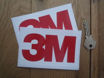 """3M Red & White Oblong Race Car Sponsors Stickers. 5"""" Pair."""