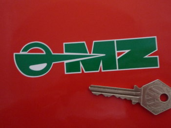 "MZ East German Motorcycle Green & White Stickers. 4.5"" Pair."
