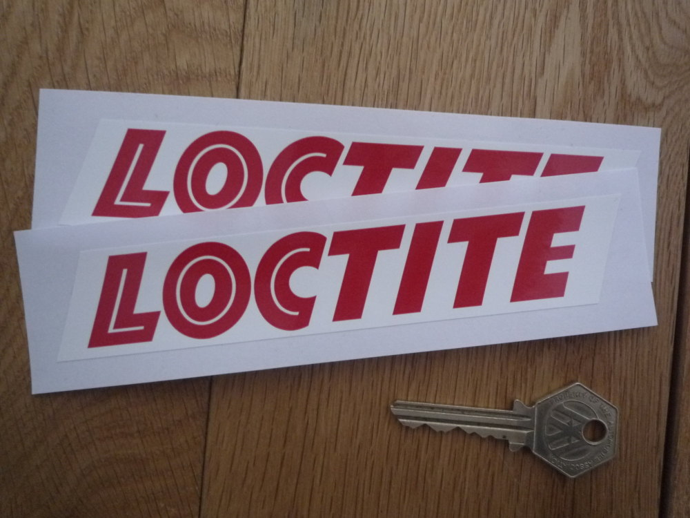 Locitite Red & White Oblong Stickers. 6