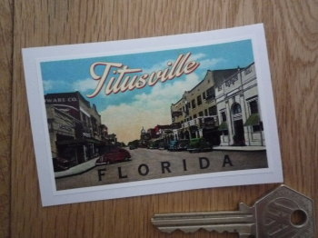 "Titusville Florida American Travel Sticker. 3.25""."