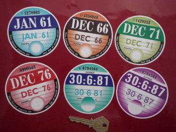"Replica Tax Disc Sticker. January 1961 to December 1987. 3""."