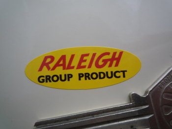 "Raleigh Group Product Yellow Oval Sticker. 1.5""."