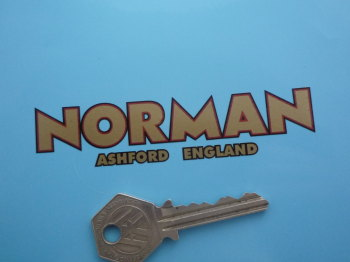 "Norman Ashford England Cut Text Motorcycle Sticker. 4""."