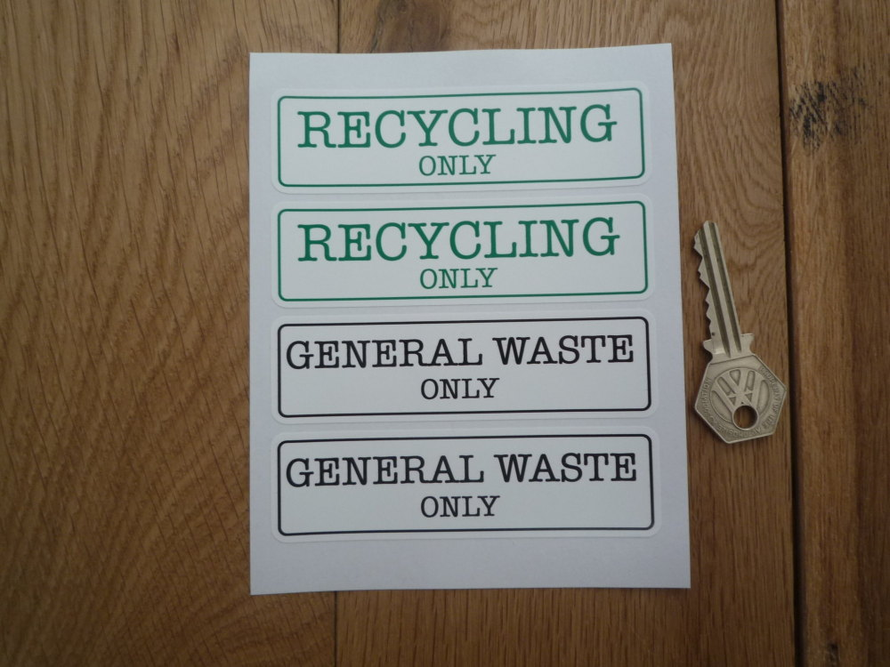 """Recycling Only & General Waste Only Bin Label Stickers. Set 4. 4.25""""."""
