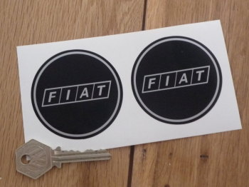 """Fiat Later Style Black & Silver with Silver Coachline Round Stickers. 2.5"""" Pair."""