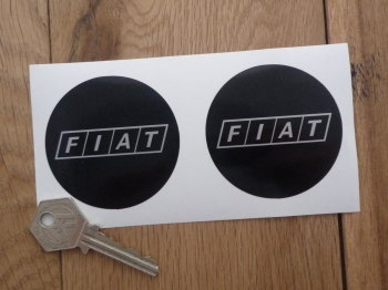 """Fiat Later Style Black & Silver Round Stickers. 2.5"""" Pair."""