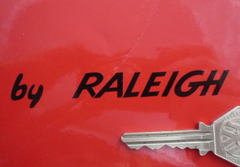 "by Raleigh Cut Text Stickers. 3.75"" Pair."