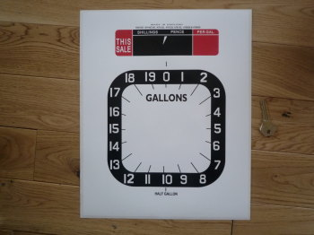 "Petrol Pump 'This Sale' Style 4 Half Gallon Clock Face Sticker. 11""."