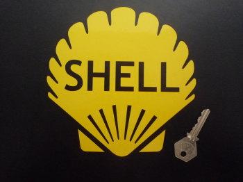 "Shell Classic Cut Vinyl Yellow Shell Sticker. 6.5""."