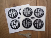 Alfa Romeo Wheel Centre Stickers. Monochrome. Set of 4. 50mm.