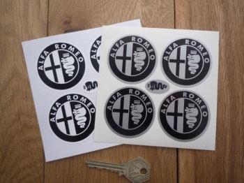 Alfa Romeo Wheel Centre Stickers. Monochrome. Set of 4. 50mm.