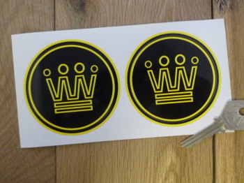 "Noble Yellow & Black Circular Logo Stickers. 3"" Pair"