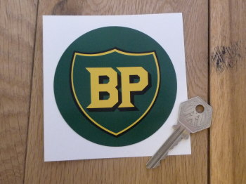 "BP Pre '58 Style Circular Shield Sticker. 3.5"" or 4""."