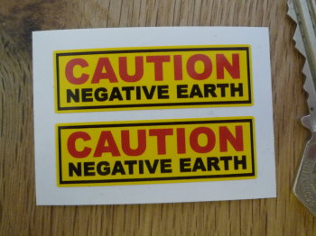 "Caution Negative Earth Yellow Stickers. 2"" Pair."