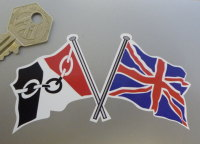 "Crossed Black Country Flag & Union Jack Sticker. 4""."