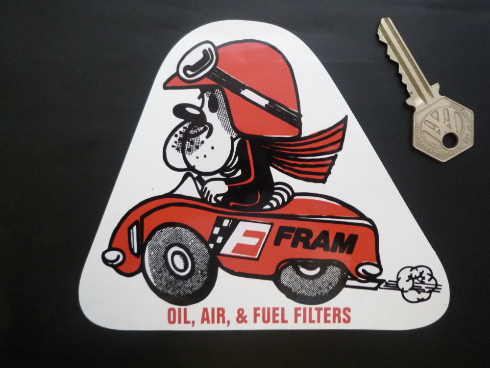 "Fram Oil, Air, & Fuel Filters Triangular Sticker. 6""."